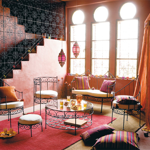 Moroccan living room velvet palette - Moroccan style living rooms ...