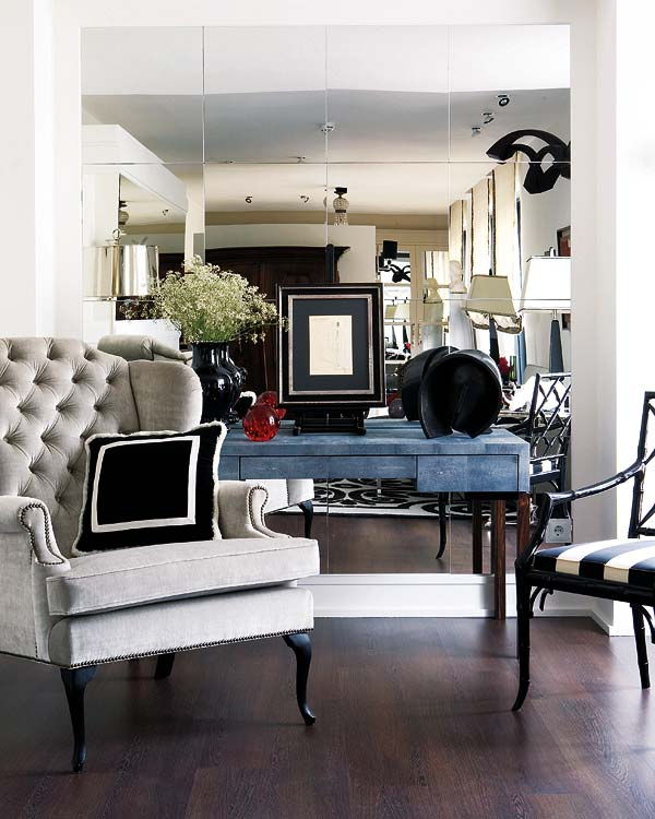 ... sleek surfaces combined with a classy almost-jewelry-like pendant lighting that glorious floor to ceiling glass ider those modern comfy chairs.. ... & Striped chair | Velvet Palette