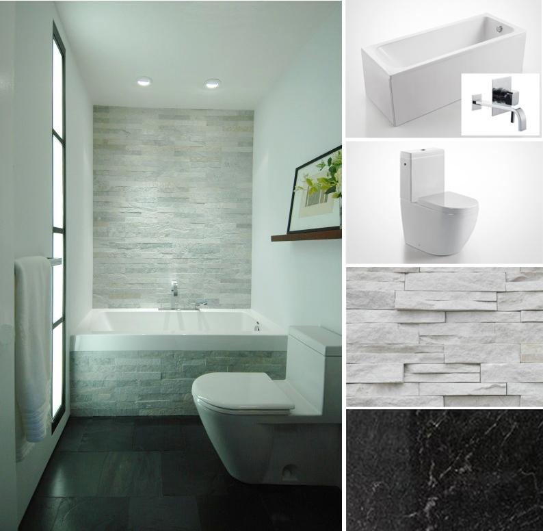 Modern bathroom furniture velvet palette for Stacked stone bathroom ideas