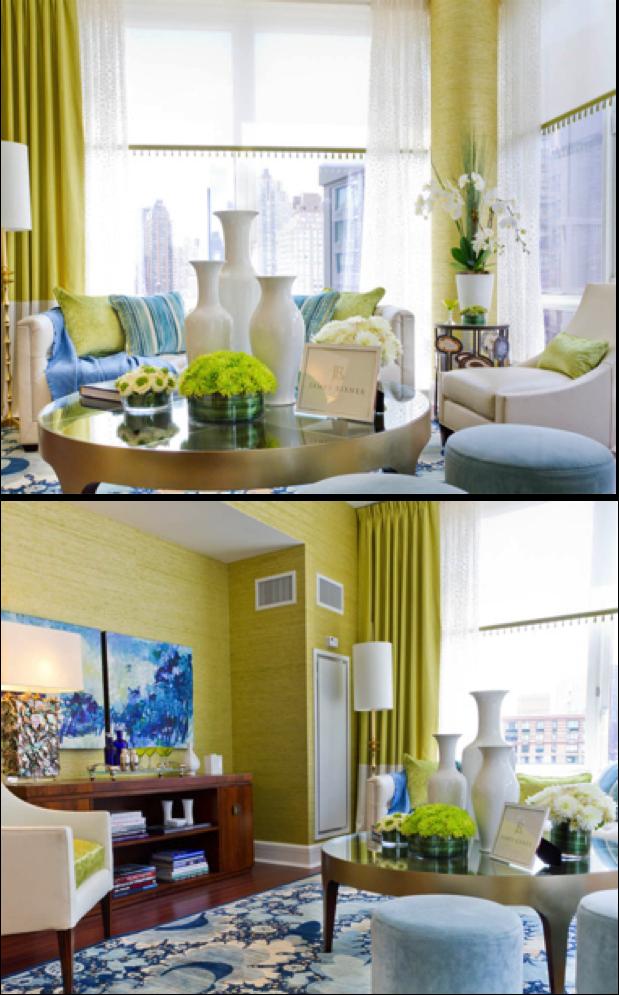 green and blue living room | velvet palette
